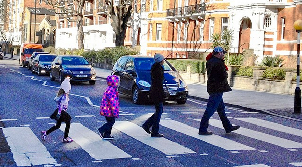 Crossing Abbey Road in London